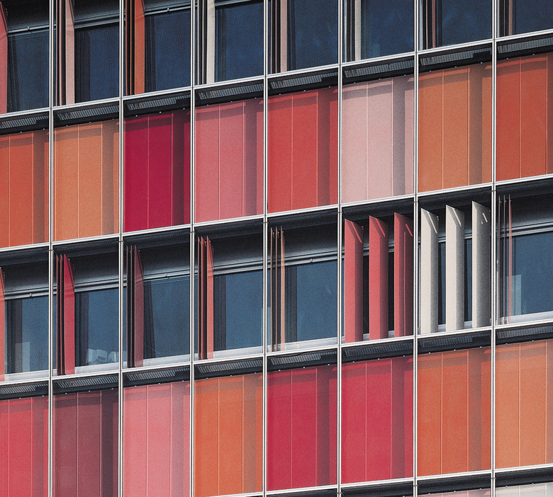 Colorful folding perforated panels s h in berlin 058 Folding facade
