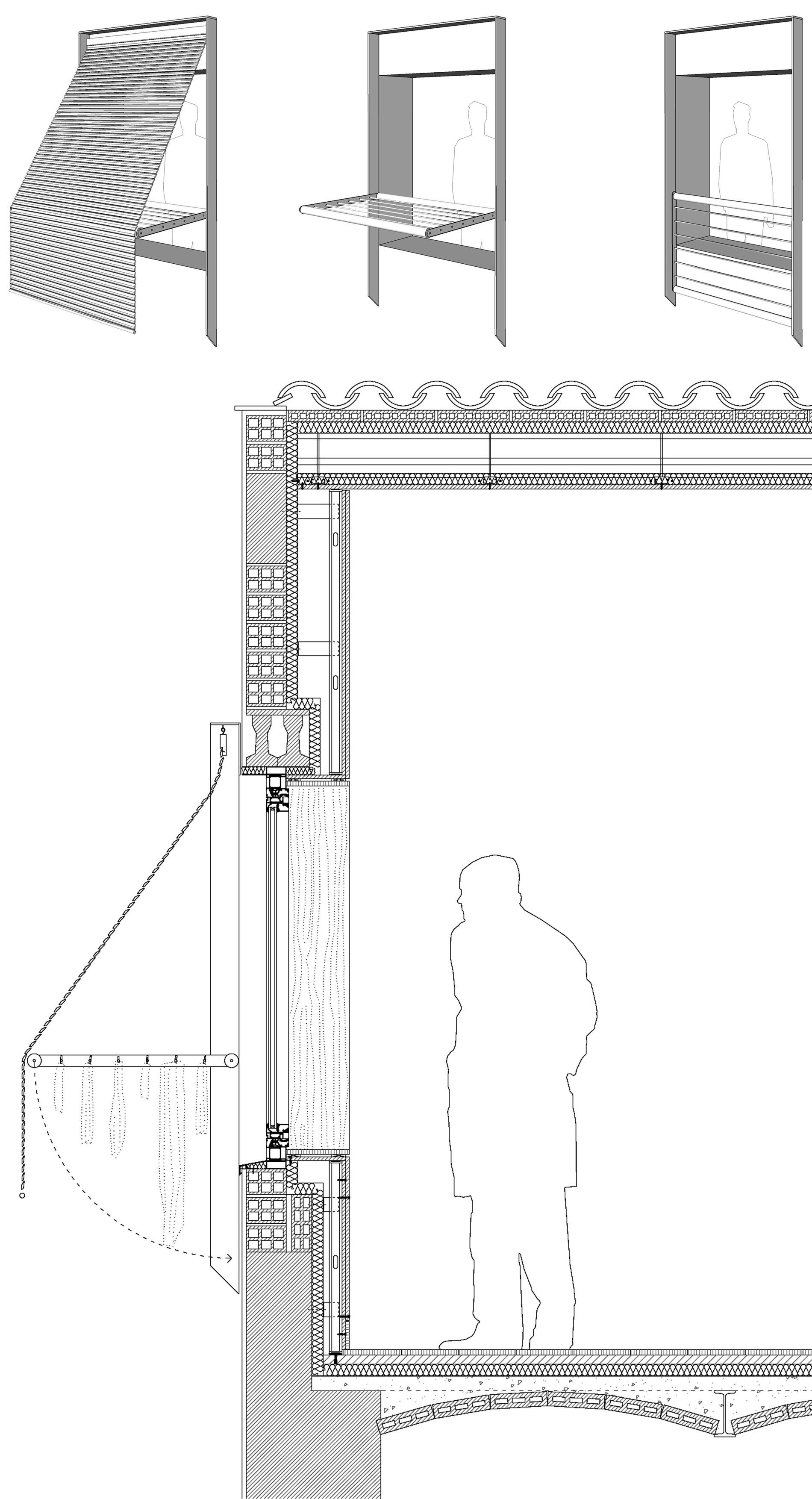 Railing Clothes Line And Roller Blind Separation In One